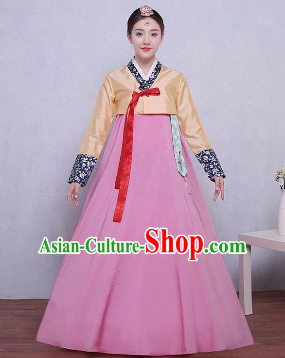 Asian Korean Dance Costumes Traditional Korean Dress Hanbok Clothing Yellow Blouse and Pink Skirt for Women