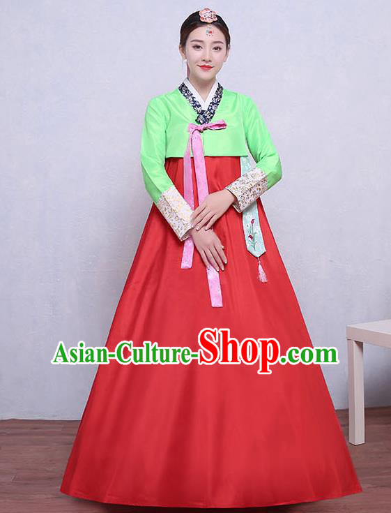 Asian Korean Dance Costumes Traditional Korean Dress Hanbok Clothing Green Blouse and Red Skirt for Women