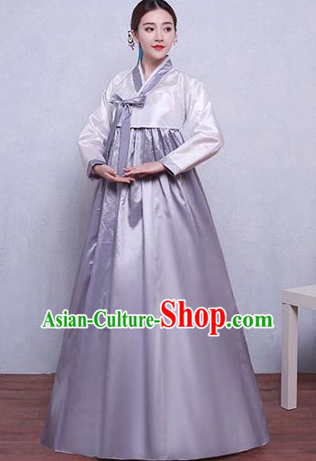 Asian Korean Dance Costumes Traditional Korean Hanbok Clothing White Blouse and Grey Dress for Women