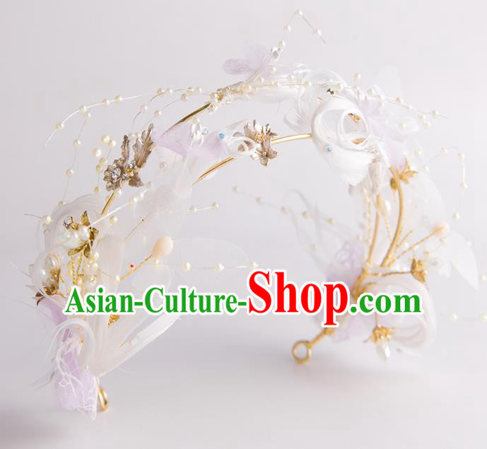 Handmade Classical Wedding Hair Accessories Bride Feather Hair Clasp Royal Crown for Women