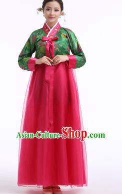 Asian Korean Palace Costumes Traditional Korean Bride Hanbok Clothing Green Blouse and Rosy Veil Dress for Women
