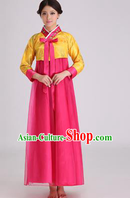Asian Korean Palace Costumes Traditional Korean Bride Hanbok Clothing Yellow Blouse and Rosy Veil Dress for Women