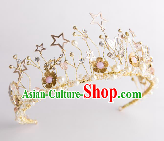 Handmade Classical Wedding Hair Accessories Bride Baroque Pearls Royal Crown Hair Clasp for Women