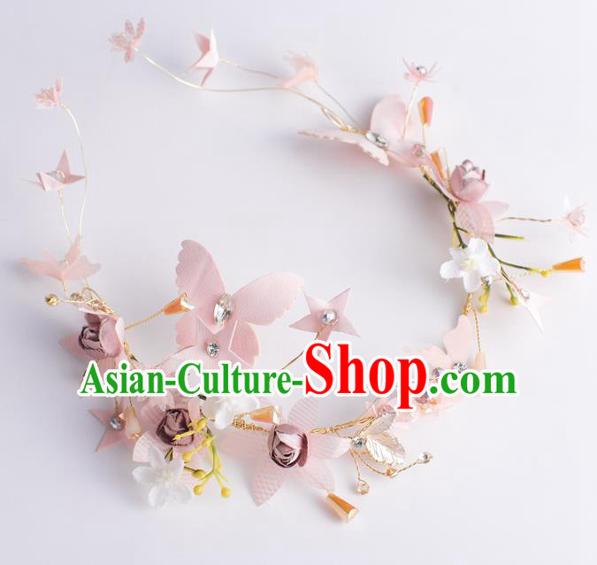 Handmade Classical Wedding Hair Accessories Bride Pink Butterfly Hair Clasp Headband for Women