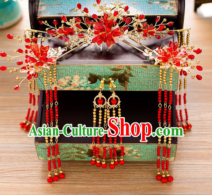Chinese Handmade Classical Wedding Hair Accessories Ancient Xiuhe Suits Red Beads Phoenix Coronet Hairpins for Women