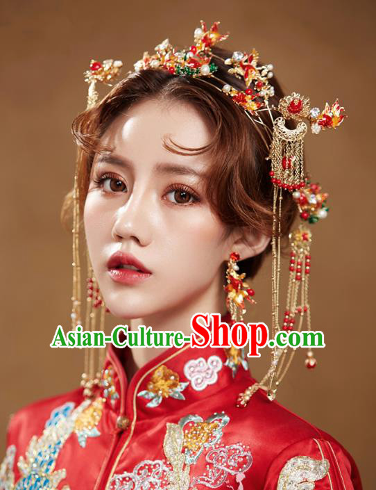 Chinese Handmade Classical Wedding Hair Accessories Ancient Tassel Hairpins Red Phoenix Coronet for Women