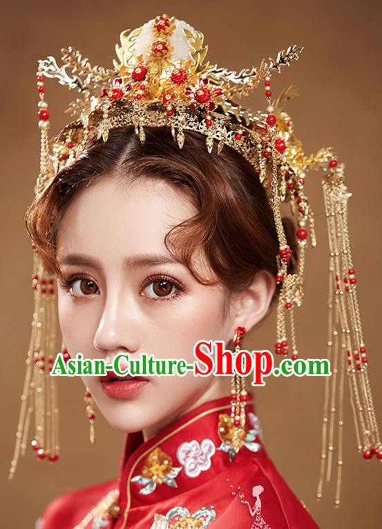 Chinese Handmade Classical Wedding Hair Accessories Ancient Tassel Hairpins Jade Phoenix Coronet for Women