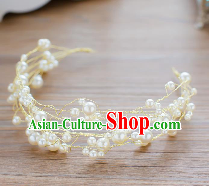 Handmade Classical Wedding Hair Accessories Bride Pearls Hair Clasp Headband for Women