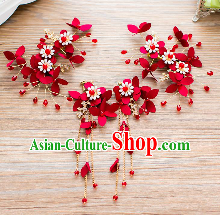 Handmade Classical Wedding Hair Accessories Bride Red Flowers Hair Stick Headband for Women