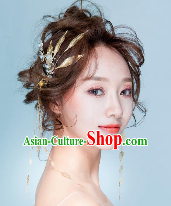 Handmade Classical Wedding Hair Accessories Bride Golden Hair Clasp Headband for Women