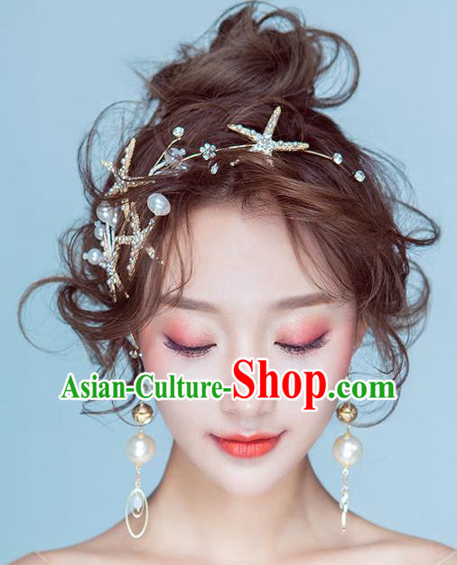 Handmade Classical Wedding Hair Accessories Bride Crystal Stars Hair Clasp Headband for Women