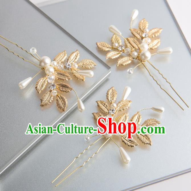 Handmade Classical Wedding Hair Accessories Bride Golden Hairpins Hair Stick for Women