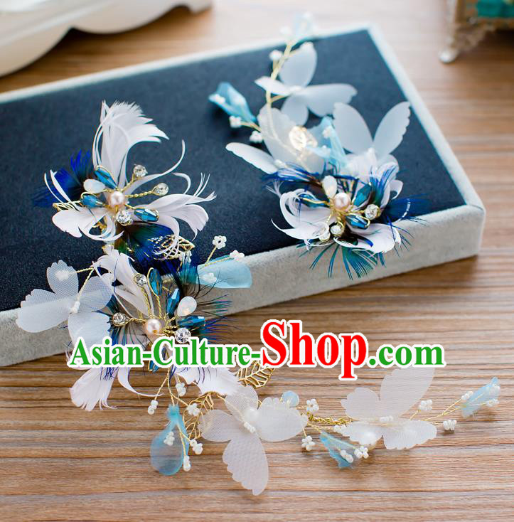 Handmade Classical Wedding Hair Accessories Bride Feather Hair Stick Headband for Women
