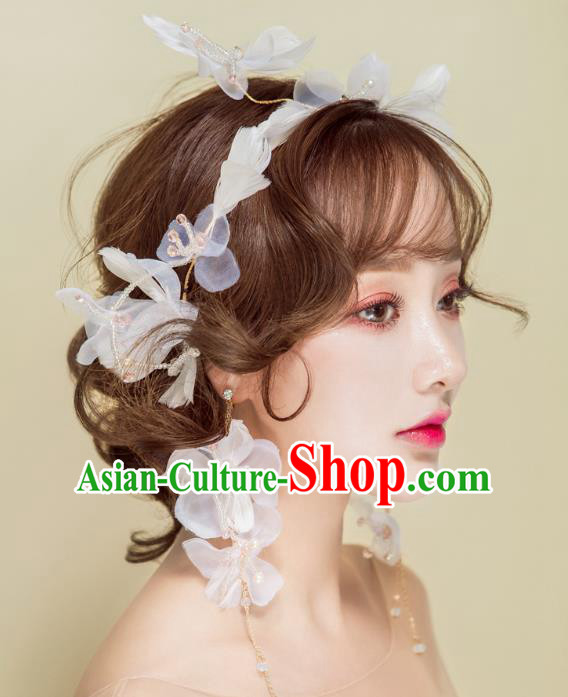 Handmade Classical Wedding Hair Accessories Bride Feather Flowers Hair Clasp Headband for Women