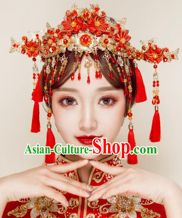 Chinese Handmade Classical Wedding Hair Accessories Ancient Xiuhe Suits Chinese Knots Phoenix Coronet Hairpins for Women