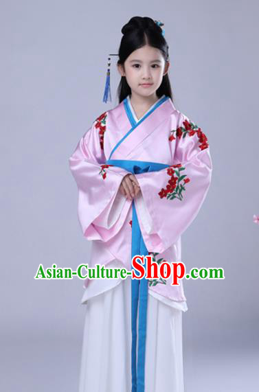 Traditional Chinese Han Dynasty Palace Lady Embroidered Costume, China Ancient Princess Dress for Kids