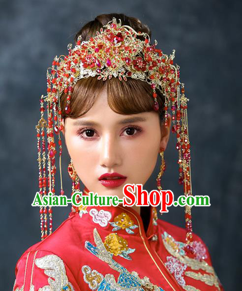 Chinese Handmade Classical Wedding Hair Accessories Ancient Red Tassel Phoenix Coronet Hairpins Headdress for Women