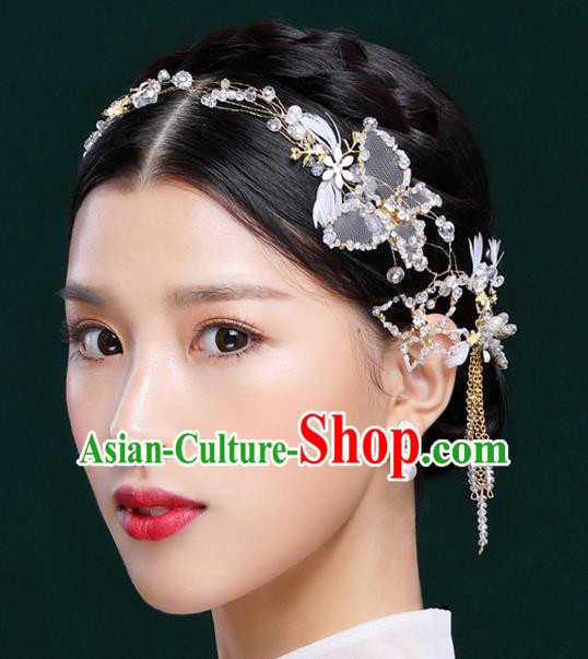 Handmade Classical Wedding Hair Accessories Bride Feather Crystal Hair Stick Tassel Headband for Women