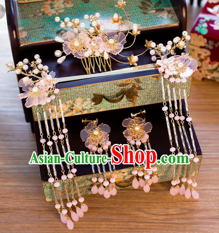Chinese Handmade Classical Wedding Hair Accessories Ancient Tassel Hairpins Pink Flowers Hair Comb for Women
