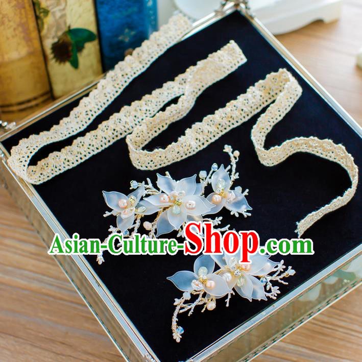 Handmade Classical Wedding Hair Accessories Bride Lace Hair Clasp Hair Stick Headband for Women