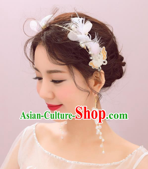 Handmade Classical Wedding Hair Accessories Bride Feather Hair Crown and Earrings for Women