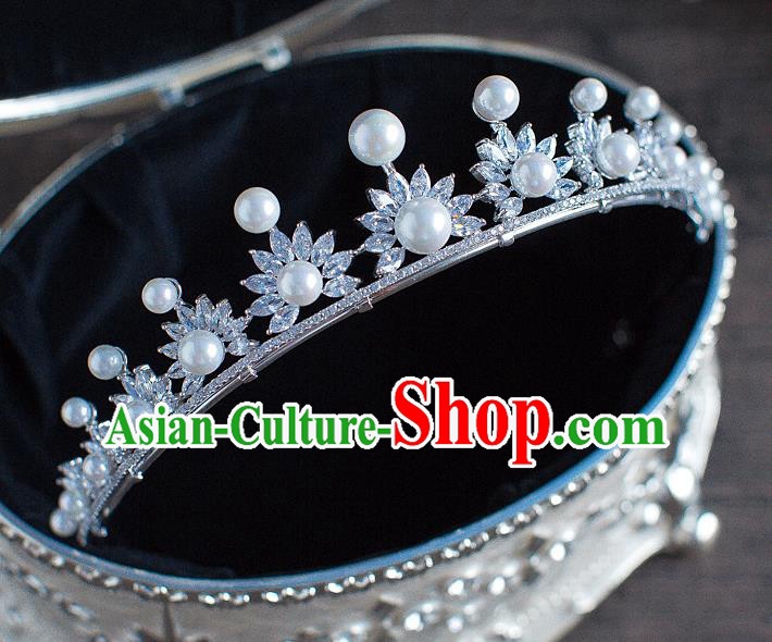 Handmade Classical Hair Accessories Bride Baroque Crystal Pearls Royal Crown Headwear for Women