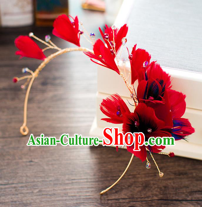 Handmade Classical Wedding Hair Accessories Bride Headwear Red Feather Hair Clasp for Women