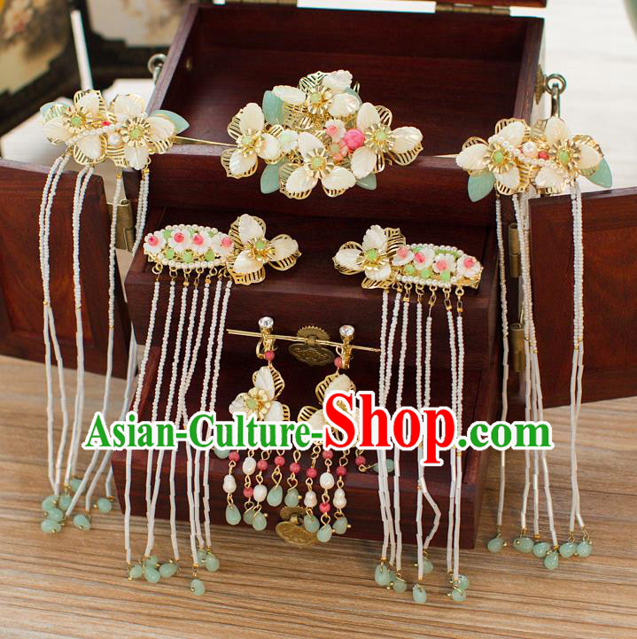 Chinese Handmade Classical Hair Accessories Ancient Palace Tassel Step Shake Hairpins for Women