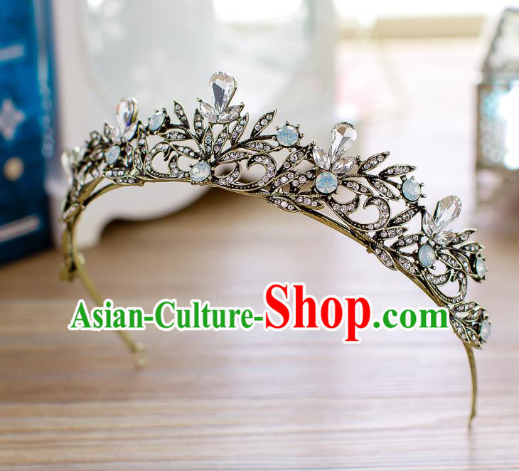 Handmade Classical Hair Accessories Baroque Crystal Leaf Royal Crown Princess Black Hair Clasp for Women