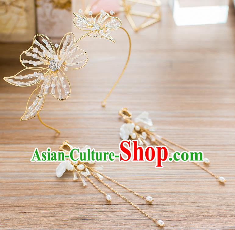 Handmade Classical Wedding Hair Accessories Bride Crystal Beads Hair Clasp Headband for Women