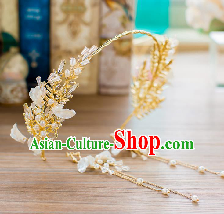 Handmade Classical Wedding Hair Accessories Bride Crystal Shell Hair Clasp Headband for Women