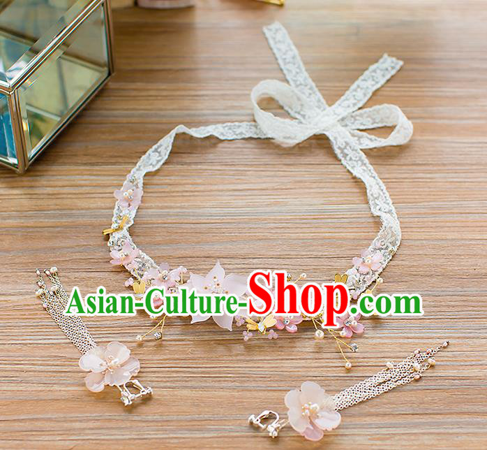 Handmade Classical Wedding Hair Accessories Bride Hair Clasp Pink Flowers Lace Headband for Women