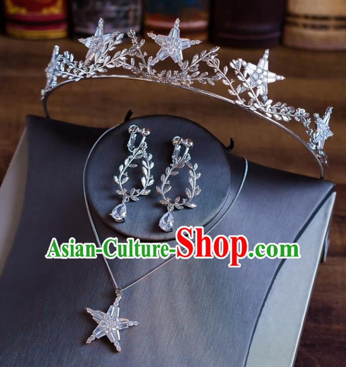 Handmade Classical Wedding Hair Accessories Bride Baroque Crystal Royal Crown and Necklace Earrings for Women
