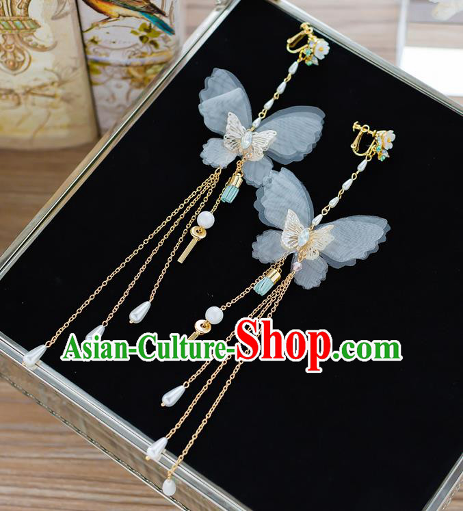 Handmade Classical Wedding Accessories Long Tassel Eardrop Bride Butterfly Earrings for Women
