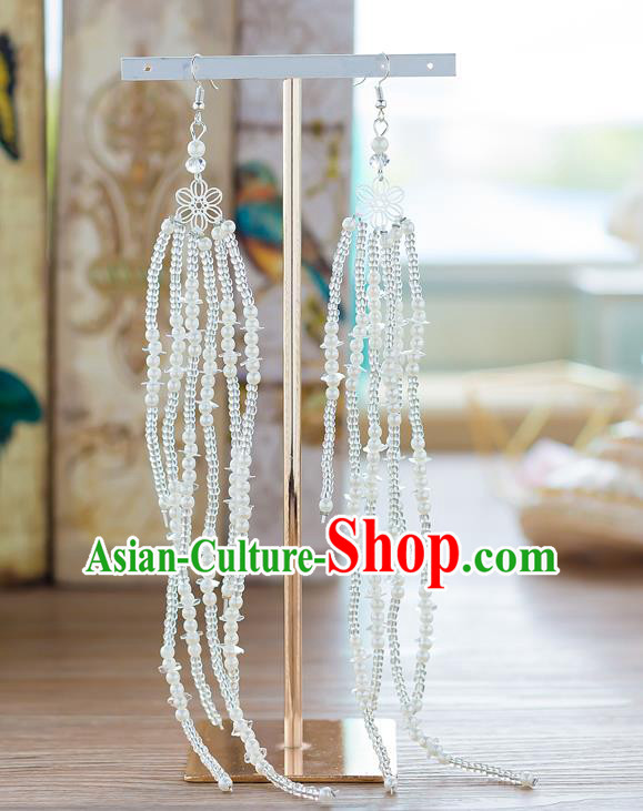 Handmade Classical Wedding Accessories Long Tassel Eardrop Bride Beads Earrings for Women
