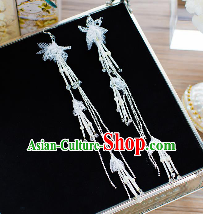 Handmade Classical Wedding Accessories Long Beads Tassel Eardrop Bride Earrings for Women