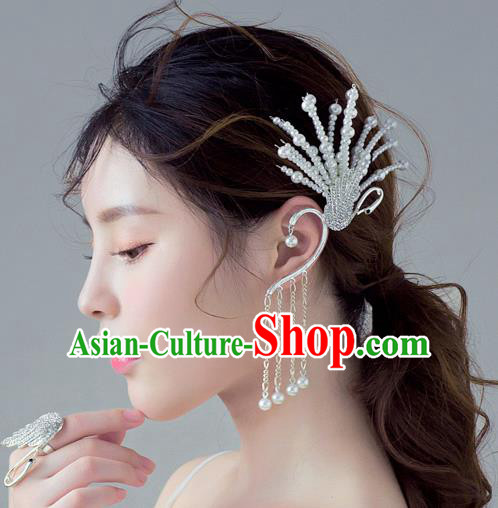 Handmade Classical Wedding Accessories Beads Peacock Tassel Eardrop Bride Earrings for Women