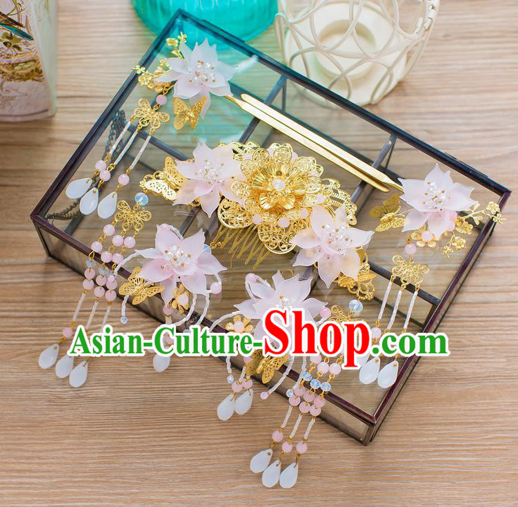 Chinese Handmade Classical Hair Accessories Ancient Palace Pink Lotus Hairpins Complete Set for Women