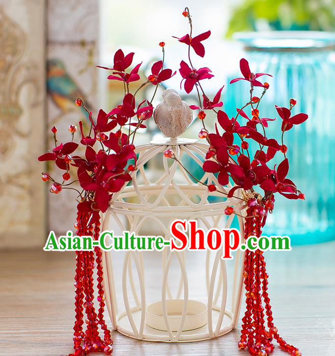 Handmade Classical Wedding Hair Accessories Bride Red Beads Hair Stick Headwear for Women