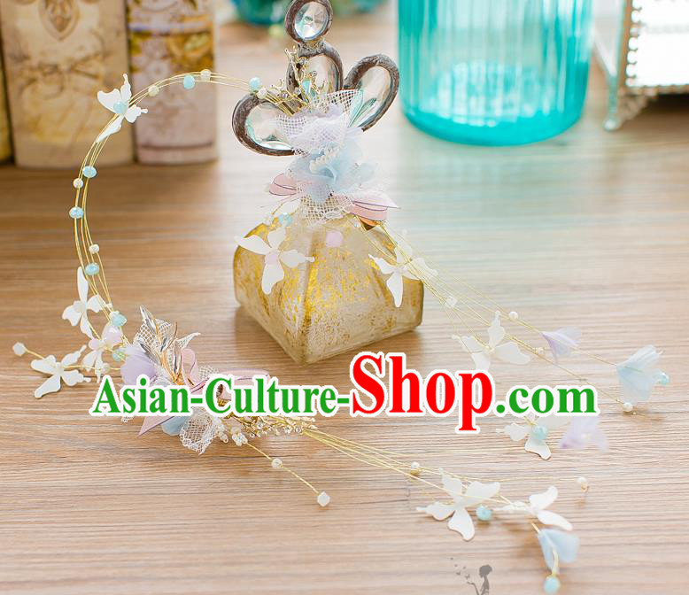 Handmade Classical Wedding Hair Accessories Bride Tassel Butterfly Hair Clasp Headwear for Women