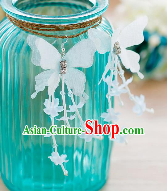 Handmade Classical Wedding Accessories Butterfly Tassel Eardrop Bride Earrings for Women