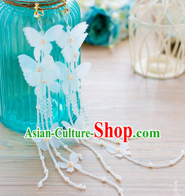 Handmade Classical Wedding Accessories Tassel Eardrop Bride Butterfly Earrings for Women