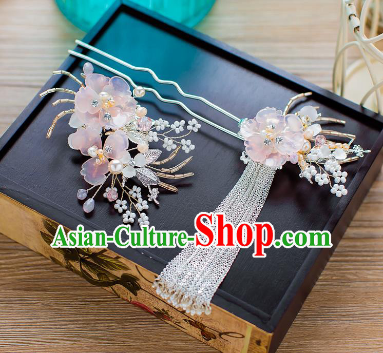 Handmade Classical Wedding Hair Accessories Bride Hair Stick Pink Flower Tassel Hairpins for Women