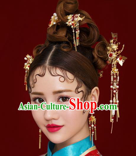 Chinese Handmade Classical Hair Accessories Ancient Palace Tassel Phoenix Coronet Hairpins Complete Set for Women