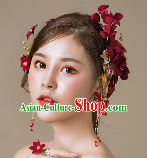 Handmade Classical Wedding Hair Accessories Bride Red Flowers Hair Claw Headwear for Women