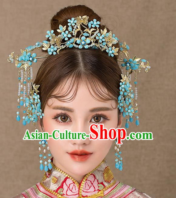 Chinese Handmade Classical Hair Accessories Ancient Palace Hairpins Blue Tassel Step Shake Complete Set for Women
