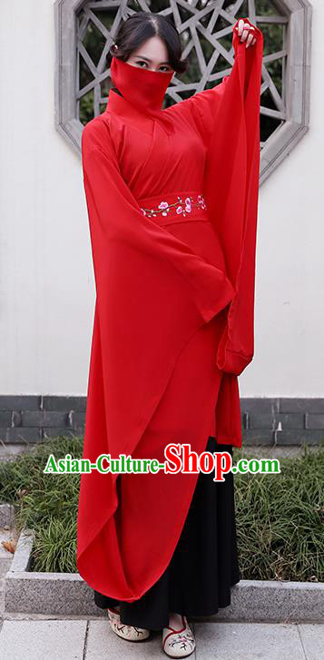 Traditional Chinese Ancient Han Dynasty Princess Wedding Clothing Embroidered Red Curving-front Robe for Women