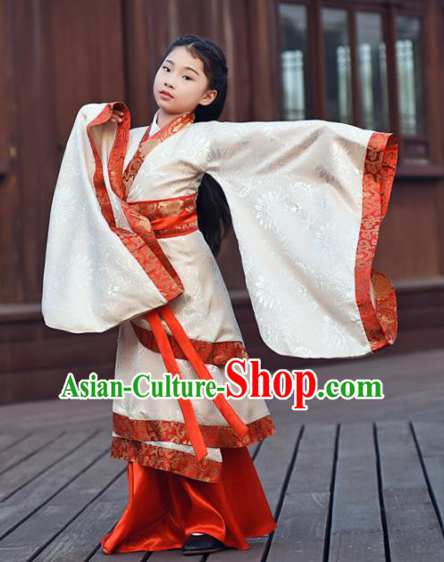Traditional Chinese Ancient Han Dynasty Princess Hanfu Embroidered Costume for Kids