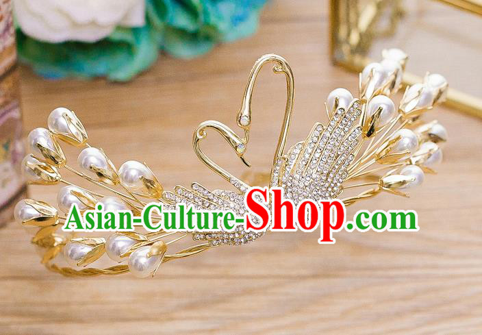 Handmade Classical Wedding Hair Accessories Bride Crystal Pearls Swan Hair Clasp Headwear for Women