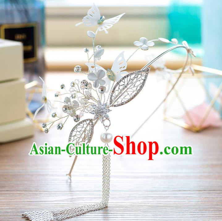 Handmade Classical Wedding Hair Accessories Bride Butterfly Tassel Hair Clasp Headband for Women